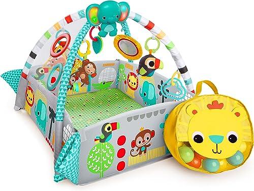 Bright Starts, Gimnasio de Actividades 5 en 1 Your Way Ball Play, incluye 35 bolas y 12 juguetes con luz y música