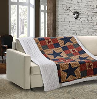 Mountain Cabin Blue by Virah Bella - Quilted Sherpa Throw Blanket with Star Patchwork Pattern