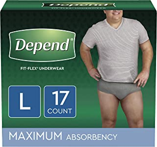 Depend FIT-FLEX Incontinence Underwear for Men, Maximum Absorbency, L, Gray, 17 Count