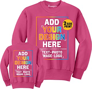 Custom Youth Crewneck Sweatshirt Add Your Own Image Design Text Front Back Side