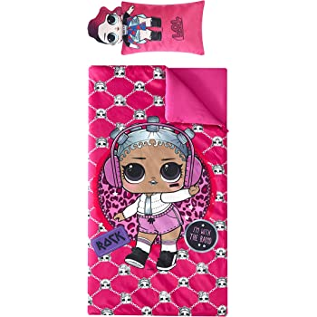 Ages 3+ Nickelodeon LOL Surprise Printed Sleeping Bag with Coordinating Figural Pillow