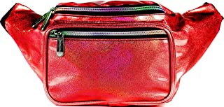 SoJourner Holographic Rave Fanny Pack - Packs for festival women, men | Cute Fashion Waist Bag Belt Bags (Glitter - Red)