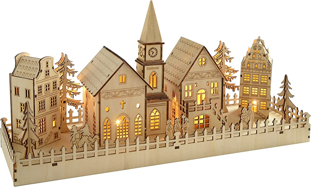 Werchristmas, decorazione natalizia in legno, scena villaggio QGMH216