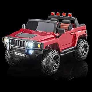 SUPERtrax Warrior Kid's Ride On Battery Powered Vehicle - Functional Doors, Shock Absorbers, Electronic Steering Assist, EVA Foam Rubber Tires, Remote Control, Free MP3 Player - Gloss Red