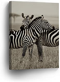 Zebra Friendship Love Photo Picture Canvas Print Safari African Decor Black and White Wall Art Living Room Home Decor Artwork - Ready to Hang - 36x24 inches