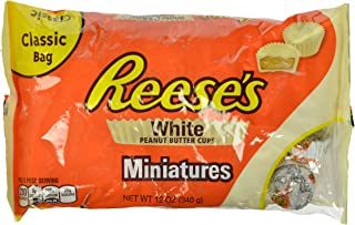REESE'S Peanut Butter Cups, White Crème Candy, Miniatures 12 Ounce (Pack of 4)