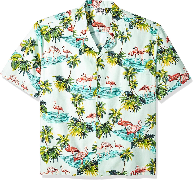 Pacific Legend Men's Flamingos Hawaiian Shirt