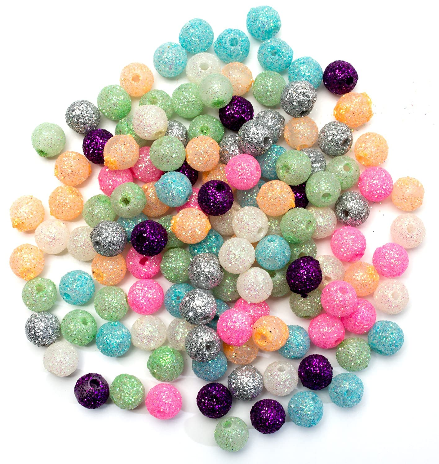 Cousin Bead Girl Glitter Round Beads, Assorted Colors, 125-Pack