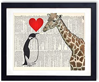 Giraffe And Penguin Love Upcycled Vintage Dictionary Art Print 8x10