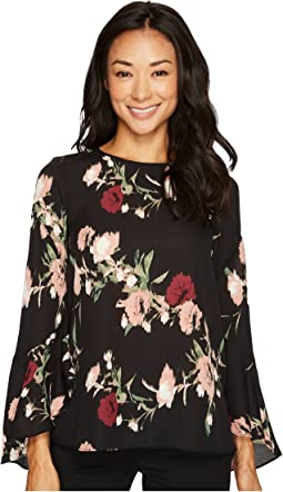 Vince Camuto Specialty Size - Petite Flared Sleeve Windswept Bouquet Blouse
