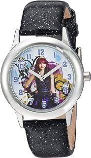 ساعة DISNEY Girls Descendants 2 من الستانليس ستيل انالوج كوارتز بحزام جلد صناعي، لون اسود، 15 (WDS000248)