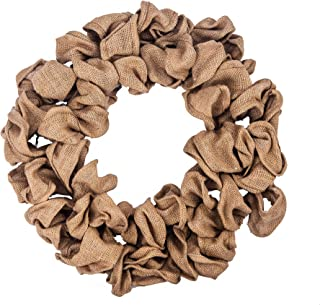 Huashen 22 Inch Handcraft Natural Burlap Christmas Door Wreath for Year-Round Decoration