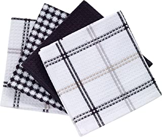 """T-fal Textiles Cotton Flat Waffle Dish Cloth, Highly Absorbent, Machine Washable, 12"""" x 13"""", Neutral, 4-Pack"""