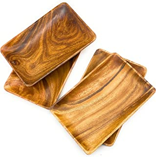 """SDS Home Imports Acacia Wood Rectangular Trays Cutting Board 4 Pack (LARGE 11""""X 7"""")"""