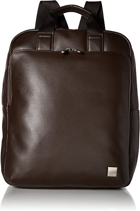"Knomo Brompton Classic Dale, 15"" Leather Tote Backpack, with Suitcase Slip Pocket and RFID Pocket, Black"