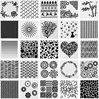SOTOGO 25 Pcs Mixed Pattern Hollow Out Painting Stencils Square Shape Journal Stencil Plastic Planner Stencils for Paintin...