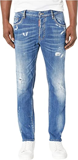 Skater Jeans in Faded Blue Wash