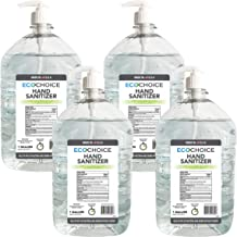 EcoChoice Unscented Hand Sanitizer Gel, 66% Alcohol, 1-Gallon Size Bottle, 128 Fl. Oz, with Pump Dispenser, 4-Pack