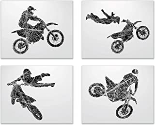 Summit Designs Motocross Dirt Bike Wall Decor Art Prints - Silhouette – Set of 4 (8x10) Poster Photos - Bedroom - Man Cave