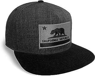 California State Flag Dark Grey and Black Flat Brim Baseball Cap Hat Snapback