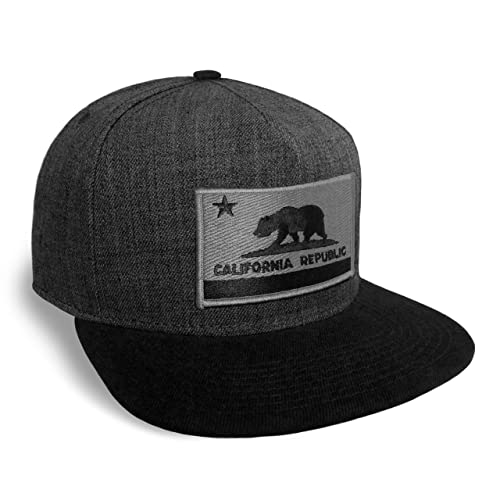 Strange Cargo California State Flag Dark Grey and Black Flat Brim Baseball Cap  Hat Snapback 65724f177366