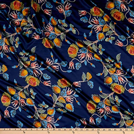Telio Kimono Matte Satin Floral Print Blue Fabric By The Yard