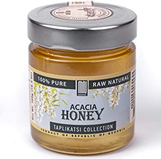 Acacia Monofloral Raw Honey, Organic (10.5 Ounce); Natural Wildflower Honey from Rep. of Georgia – Unheated & Unfiltered - Contains Natural Enzymes, Pollen & Propolis – by Mira Nova