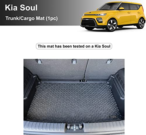 discount YelloPro Custom fit Heavy Duty wholesale Trunk/Cargo Floor Mat for Kia sale Soul - 2020 2021 - All Weather Anti-Slip Black Rubber [Made in USA] outlet sale