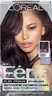L'Oreal Paris Feria Multi-Faceted Shimmering Permanent Hair Color, 525 Purple Smoke, 1 Count kit Hair Dye