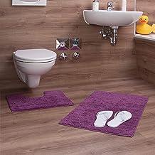 Relaxdays 2 Piece Bath Accessory Set, Stripe Design, for Heated Floor, Washable, Bath Mat and Pedestal Toilet Mat, 80 x 50...