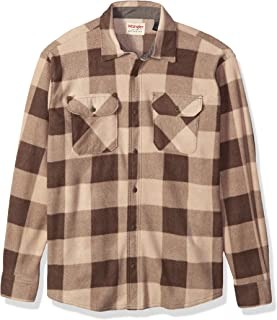 Authentics Men's Long Sleeve Heavyweight Plaid Fleece Shirt