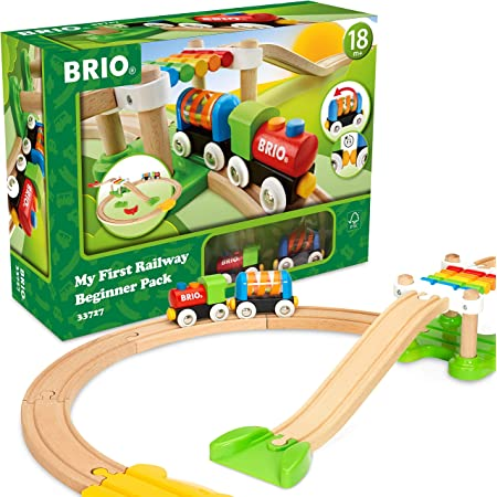 BRIO My First Railway – 33727 Beginner Pack | Wooden Toy Train Set for Kids Age 18 Months and Up