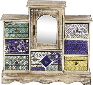 Deco 79 56700 Lattice Pattern Designed Wooden Jewelry Chest, 16