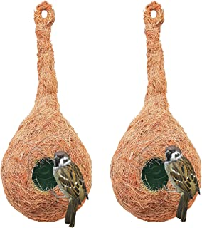 PetNest CR-1 Quality Safest Round Organic Bird Nest Purely Handmade Sparrow (Brown) -Set of 2 (2 Nos)