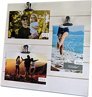 Modicum | Shiplap Photo Display Board - Picture Frame with Clips for 3 Photos (Three 4x6, or Two 4x6 with One 5x7), Easy Quick Change Photo Collage, Hang on Wall or Stand on Tabletop (White)