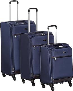 comprar comparacion AmazonBasics Juego de maletas blandas giratorias, (53cm, 64cm, 74cm), Azul marino