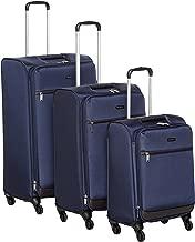 AmazonBasics 3 Piece Softside Carry-On Spinner Luggage Suitcase Set - Navy Blue