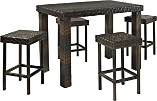 Crosley 5-Piece Palm Harbor Outdoor Wicker High Dining Set with Table and Four Stools