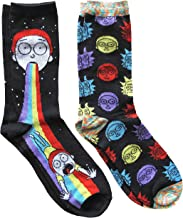 Hyp Rick and Morty Rainbow Men's Crew Socks 2 Pair Pack Shoe Size 6-12