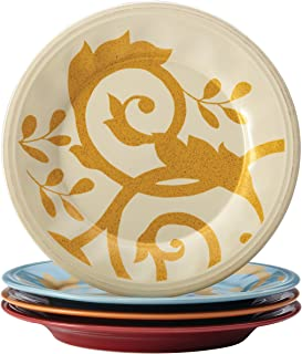 Rachael Ray Dinnerware Gold Scroll 4-Piece Salad Plate Set, Assorted