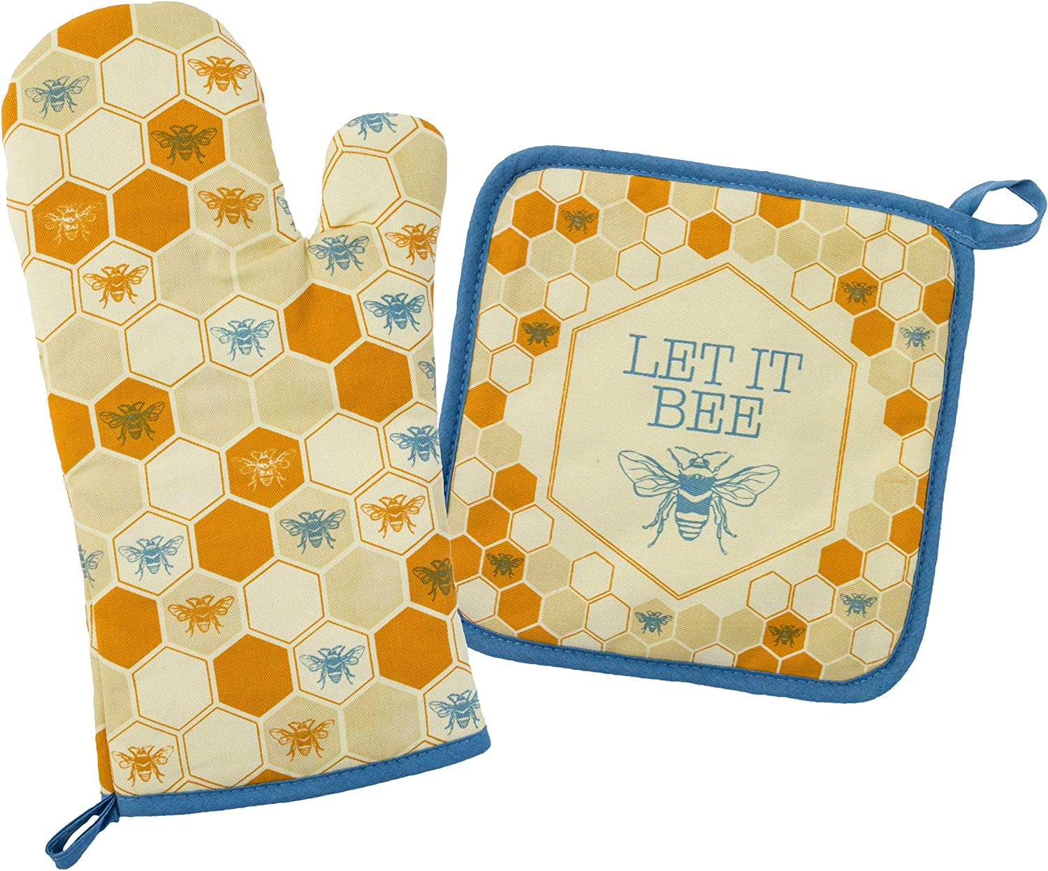 Amazon Com Karma Gifts Bee Oven Mitt Pot Holder One Size Kitchen Dining