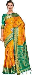 MIMOSA Women's Kanchipuram Silk Saree With Blouse Piece (4309-312-GR-GLD-RMA_Gold)