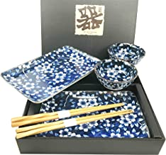 Made in Japan Floral Blossom Blue Motif Ceramic Sushi Dinnerware 6pc Set For Two Consisting Pairs of Sushi Plates Sauce Bo...