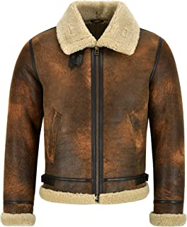 Smart Range Leather Giacca da Uomo in Pelle di Montone B3 Rame Scuro Giacca in Vera Pelliccia di Shearling Reagan