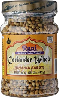 Rani Coriander (Dhania) Seeds Whole, Indian Spice 1.5oz (42g) ~ All Natural | Gluten Free Ingredients | NON-GMO | Vegan | Indian Origin