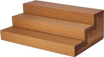 Lipper International 8808 Bamboo Wood and Cork Expandable 3-Tier Step Shelf Kitchen Organizer, 12