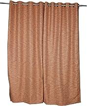 Just Linen Dark Orange Rustic Look Striped Eyelet Door Curtain