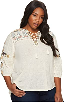 Plus Size Lace-Up Embroidered Top