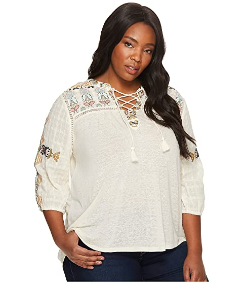 081e4b25ec4 Lucky Brand Plus Size Lace-Up Embroidered Top at 6pm