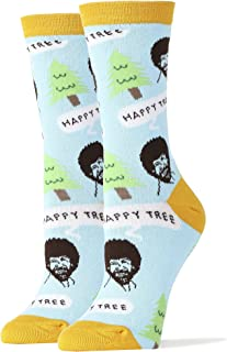 Womens Crew Funny Novelty Bob Ross Happy Tree Socks